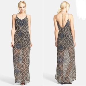 ASTR The Label Spaghetti Strap Chiffon Maxi Dress